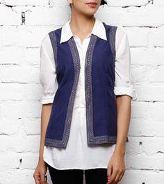 Indigo Cotton Jacket with Embroidery Traditional Jacket, Traditional Looks, Indian Attire, Indian Wear, Tailored Jacket, Neck Design, Cotton Jacket, Indian Style, Kurtis