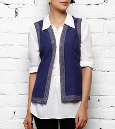 Indigo Cotton Jacket with Embroidery