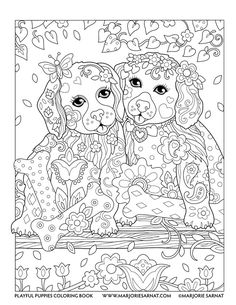 Puppies on a Swing : Playful Puppies Coloring Book by Marjorie Sarnat Make your world more colorful with free printable coloring pages from italks. Our free coloring pages for adults and kids. Puppy Coloring Pages, Doodle Coloring, Mandala Coloring Pages, Coloring Pages To Print, Coloring Book Pages, Printable Adult Coloring Pages, Illustration, Puppies, Painting