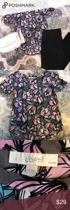Floral Loft Top Grey top with pink & blue florals LOFT Tops Blouses