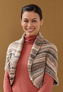 Lion Brand Sequoia Shrug ~ Worked flat as a rectangle. To finish, fold and seam sides leaving opening for arms.