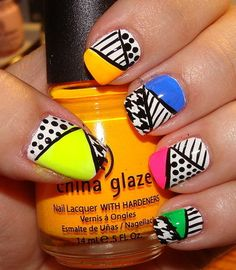 Neon Graphic 80s Nail Art. What does this remind you of? ...wait for it... wait for it.... IN LIVING COLORRRR!!!!