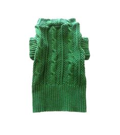 Small Green Cable Knit Designer Dog Sweater, Pet Puppy Clothes Apparel via Etsy