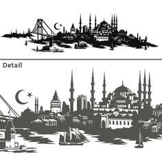 Wandtattoo Skyline Istanbul Türkei Turkiye Wandsticker Deko Türkisch Stadt | eBay