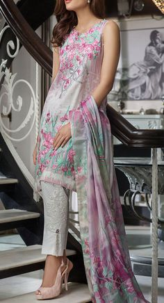 Buy Pink Embroidered Cotton Lawn Dress by Rungrez 2016