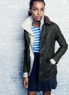 J.Crew women's Barbour® Beadnell jacket, funnel sweatshirt, and pleated lattice skirt. To preorder call 800 261 7422 or email erica@jcrew.com.