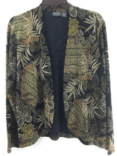Open #Chicos 2 Jacket Tropical #Hawaiian #Hibiscus Beige Stretch Knit Blazer. Size M L SOLD