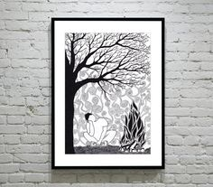 Hand Drawn Illustration 'Lonesome' Print. 297 x 420mm (A3) on Etsy, £12.99