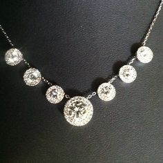 Custom made diamond halo necklace