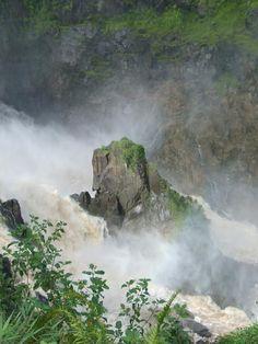 Close-up of Barron Falls from the Kuranda Scenic Railway near Cairns, Queensland Australia