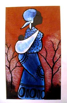 "This original barkcloth painting is from artist Emma (Emmanuel) Kavuma, Think Humanity partners with Emmanuel in fair trade and socio-economic development. Matted the measurement is 10 3/4"" "" x  7"". The barkcloth painting itself is 8"" x 4 3/4"". This is an African woman carrying her baby on her b..."
