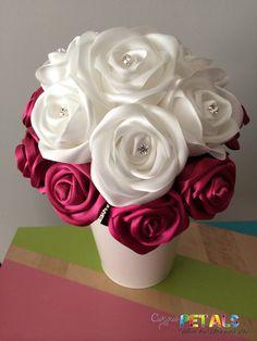 Items similar to Swarovski Elements White & Maroon Satin Ribbon Roses Wedding Bouquet with Diamante, Handmade on Etsy Roses En Ruban Satin, Satin Ribbon Roses, Ribbon Bouquet, Rose Wedding Bouquet, Rose Bouquet, Swarovski, Blue Wedding, Diy Wedding, Kissing Ball