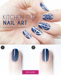 Geometric Nail Art - Kitchen Tile Inspired