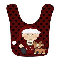 1st Christmas Bib on #baby #first christmas #infant #baby first christmas #reindeer #cupcake #1st christmas #babies 1st christmas #1st christmas #holiday #graphic design gifts and clothings for babies