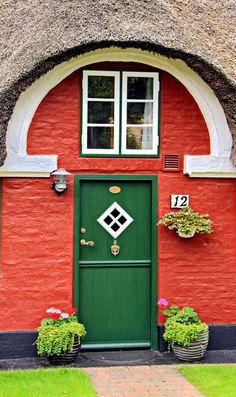 Pretty door Nordby, Fanø, Denmark / view beautiful custom door hardware handcrafted by master artisans > https://balticacustomhardware.com/customdoorhardware/backplate-sets.html