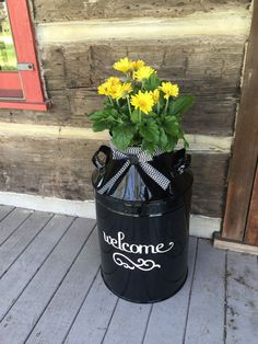 Welcome patio decor, front porch decor, patio furniture, backyard patio, outdoor decor-porch designs-house number-house number plaques Farmhouse Outdoor Decor, Milk Can Decor, Painted Milk Cans, Vintage Milk Can, Old Milk Cans, Beverage Tub, Landscaping Supplies, Porch Decorating, Backyard Patio
