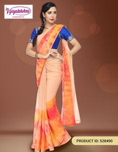 Designer Peach Chiffon Silk Saree from Vijayalakshmi Silks. Shop in the comfort of your home with COD option available within India.  http://www.vijayalakshmisilks.com/peach-orange-pink-chiffon-party-wear-cocktail-wear-2