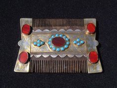 Antique Turkoman silver comb adorned with turquoise and carnelian stones. - Turkoman silversmith master
