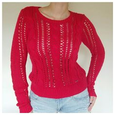 NWOT Rich Red Cable-Knit Sweater Never worn. Wool blend cable-knit sweater. Scoop neck style. Women's small. Bright red color perfect for the holidays. No rips. No stains. Abercrombie & Fitch Sweaters Crew & Scoop Necks