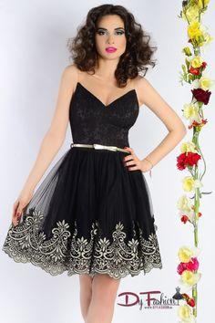 Rochie scurta neagra de seara cu aplicatii aurii si fusta din tul amplu - Dy Fashion
