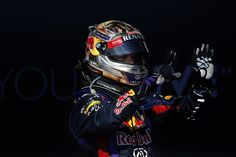 2013 US Grand Prix  Sebastian Vettel celebrates his 8th straight win after the race — at Circuit of the Americas.