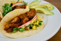 Easy Cafe Rio Pork Tacos    1 cup of brown sugar    1 cup of salsa    1 cup of sprite or coke    3 pounds of pork roast      Mix together and pour over meat in crockpot.  Cook on low for eight hours.  Shred pork in crockpot.  Serve with corn tortillas and toppings!