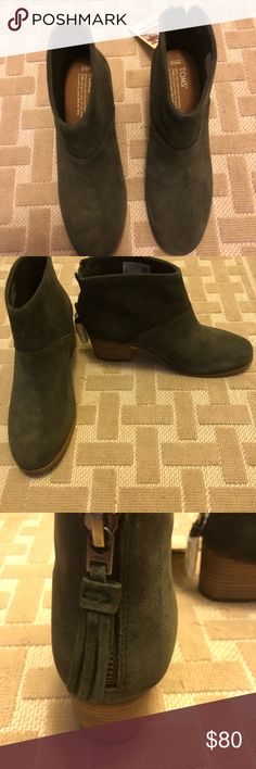 TOM's Leila booties in forest suede!  Brand new! Brand new with tags. Size 9.5.  Never worn, perfect condition.  I do not have the original box. Toms Shoes Ankle Boots & Booties