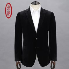 DINGTONG Men's Spring Autumn Single Suit Polyester Fabric Fashion Style <font><b>Blazers</b></font> for Men Business Casual Dress Coats