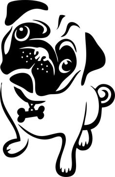 Cute adorable pug puppy dog clipart stencil template transfer svg vector file for cutting machine Dog Stencil, Animal Stencil, Stencil Art, Cute Pumpkin Carving, Pumpkin Carving Templates, Pugs, Image Svg, Arte Tribal, Pug Art