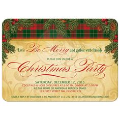 Elegant and traditional Christmas party invitation. This Xmas party invitation features evergreen pine boughs, pink cones, holly berries, and Christmas Scottish tartan plaid. This particular tartan was inspired by the spirit of Christmas. Christmas Traditions, Christmas Themes, Christmas Holidays, Happy Holidays, Xmas Party, Holiday Parties, Scottish Holidays, Fundraiser Party, Christmas Wedding Invitations