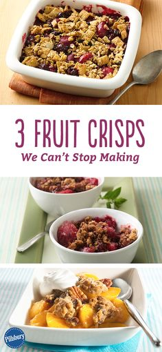 We're getting our fruit dessert fix with these crisp! Try the Quick Gluten-Free Berry Crisp, Raspberry-Pear-Granola Crisp, Peach Oatmeal Crisp or all three.