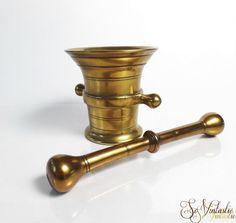 Antique solid brass pestle and mortar Kitchen by SoVintastic