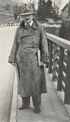 """Adolf Hitler in January, 1930. This is almost certainly the same hat he was wearing when he met Eva Braun a few months previously. She described later that he was wearing a """"Velour hat,"""" and this was..."""