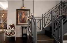 German Village Columbus - Library sconce lights are perfect for artwork Indoor Railing, Iron Stair Railing, Staircase Railings, Entry Stairs, Metal Railings, Balcony Railing, Staircases, Banister Ideas, Porch Railings
