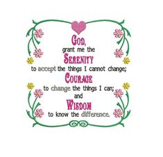 God Grant Me Serenity Prayer Machine Embroidery Digitized Pattern- Instant Download - 5x7,6x10 -hoops