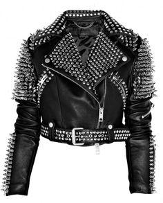 Burberry Prorsum Leather studded biker jacket.