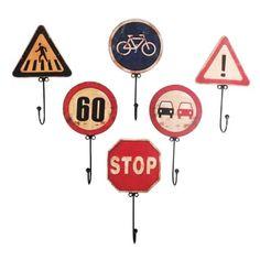Set 6 patères panneaux de signalisation ANTIC LINE CRÉATIONS