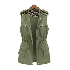 autumn short leopard splice vests waistcoat sleeveless jacket women... ❤ liked on Polyvore featuring outerwear, vests, jackets, tops, casacos, vest waistcoat, leopard vest, sleeveless vest, military inspired vest and green military vest