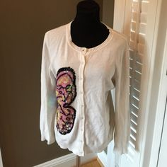 MICHAEL SIMON SEQUIN BUTTERFLY CARDIGAN SWEATER M MICHAEL SIMON SWEATER SHIWS WEAR Michael Simon Sweaters Cardigans