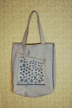 Vintage Denim Tote Bag with a Hand Painted Pocket via Etsy