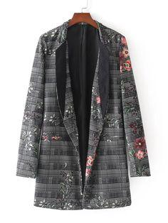 #ROMWE - #ROMWE Floral Print Longline Plaid Blazer - AdoreWe.com