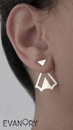 Boho Geometric Ear Jacket Srerling Handmade Ear Jacket by EVANORY