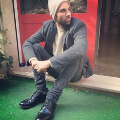 #beanie#nuur, #blazer#neilbarrett, #pullover#malo, #jeans#april77, #shoes#church