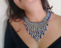 Blue Beaded Necklace Her Gift Statement Bib Necklace Beaded Bib Necklace Blue and Night Blue Matte Crystal Beads Ethnic Jewelry Boho Fashion