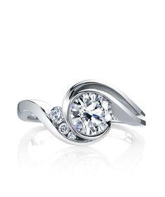 DIAMOND ENGAGEMENT RINGS - Mark Schneider Splendid Bypass Bezel Diamond Engagement Ring #weddingring