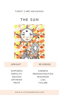 Find here free Sun tarot card meanings & reversed card meanings in the context of love, relationships, money, career, health & spirituality. Major Arcana Cards, Tarot Major Arcana, The Sun Tarot Card, Rider Waite Tarot, Tarot Card Meanings, Tarot Readers, Tarot Spreads, Sister Quotes, Daughter Quotes