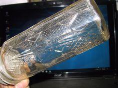 VINTAGE WAFFLE/DIAMOND PATTERN CLEAR GLASS JAR