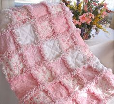 How to Make Shabby Rose   Baby Rag Quilts: Soft and Sweet Shabby Rose Baby Blanket