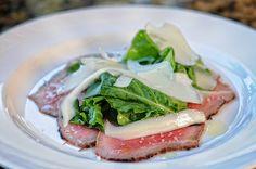 La Tavola's BEEF TAGLIATA charred rare filet, arugula, lemon, shaved Parmigiano    http://latavolatrattoria.com