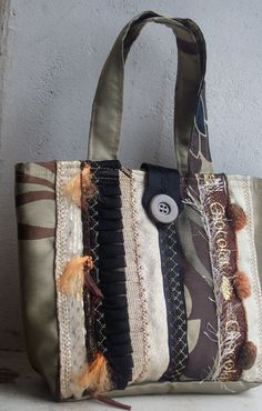 OOAK Hand bag from recycled sample fabrics in Coffee by BagsByEthicals $38.09